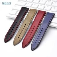 wocci 14mm 18mm 20mm 22mm nubuck italian leather watch strap bracelet replacement watchband for women men stainless steel buckle