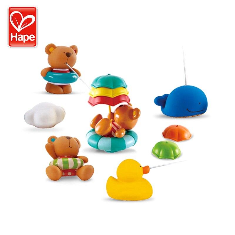 Hape brinquedos de banho de bebê brinquedo de água crianças brinquedos de natação de pelúcia pato de borracha na piscina