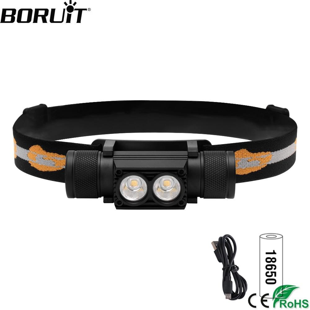 BORUiT XM-L2 LED كشافات صغيرة قوية 1000lm المصباح 18650 قابلة للشحن رئيس مصباح يدوي التخييم الصيد الإضاءة في الهواء الطلق
