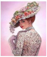 Портрет роспись бриллиантами шляпа Женщины Вышивка мозаика Алмазный dotz леди Стразы картина головоломка гобелен настенный Декор наклейки