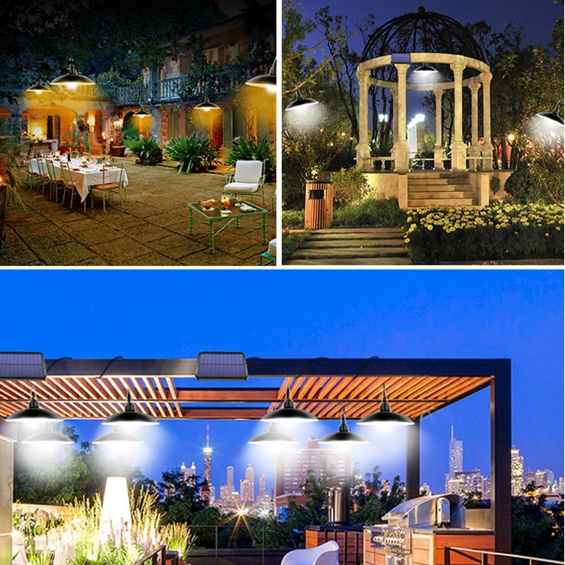 Double Head Pendant Outdoor Solar Lights Indoor Solar Lamp with Line Camping Xmas Garden Decoration Outdoor Lighting Solar Light