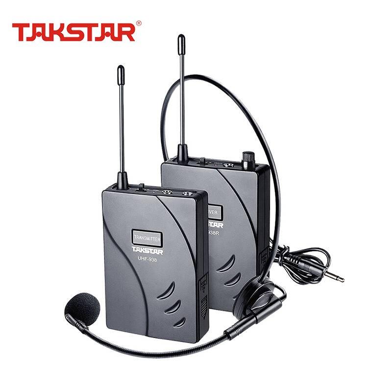 Takstar UHF-938, sistema inalámbrico de guía de recorrido, frecuencia UHF, transmisor inalámbrico de micrófono, receptor, micrófono, auricular para enseñanza de reuniones