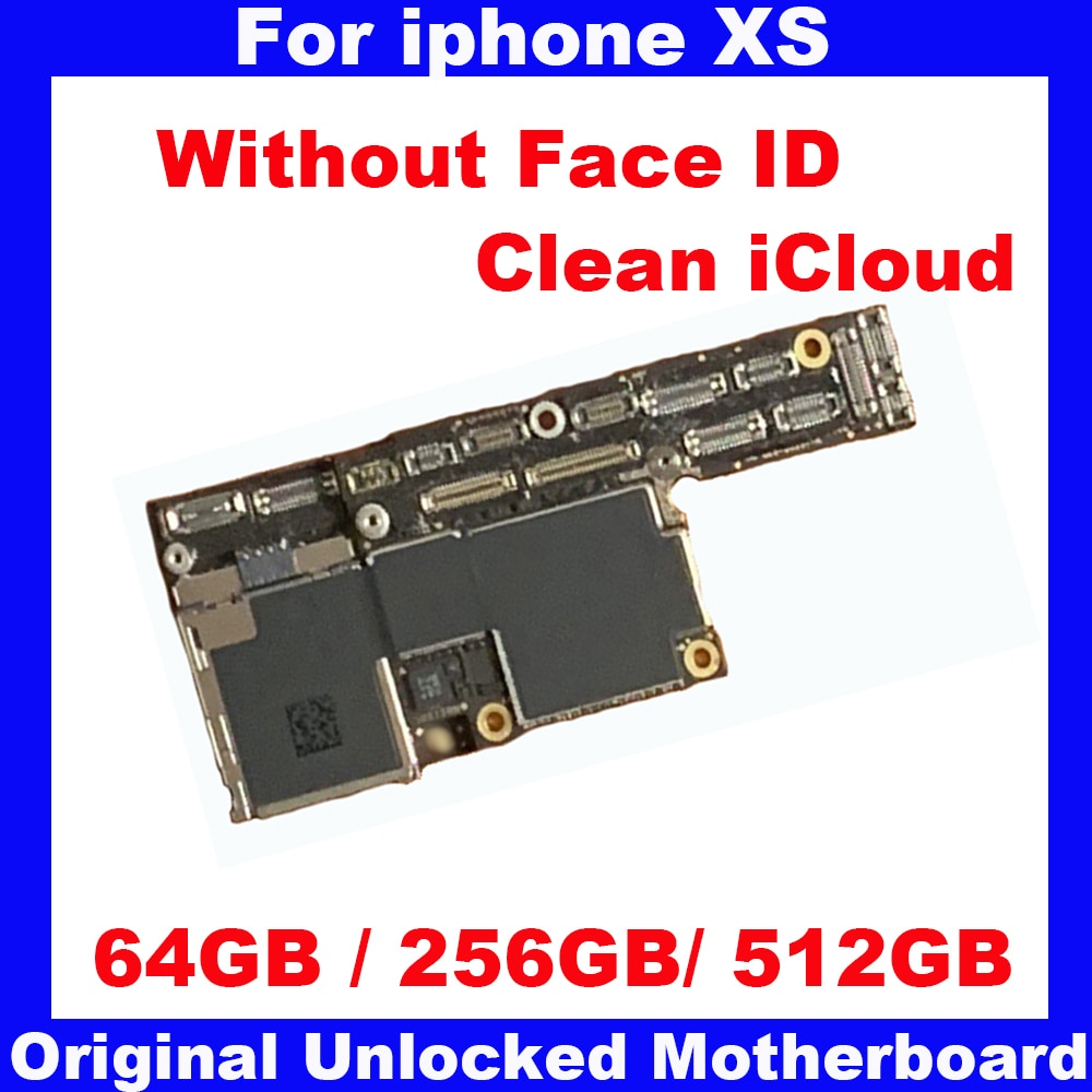 Get For iphone XS Original motherboard with IOS system,64GB 256GB 512GB Unlocked mainboard Clean iCloud Logic board Without Face ID