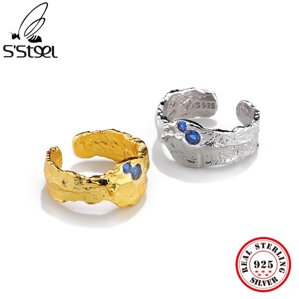 S'STEEL 925 Sterling Silver Zircon Fashion Adjustable Ring Gift For Women Aesthetic Trendy Korean Ir