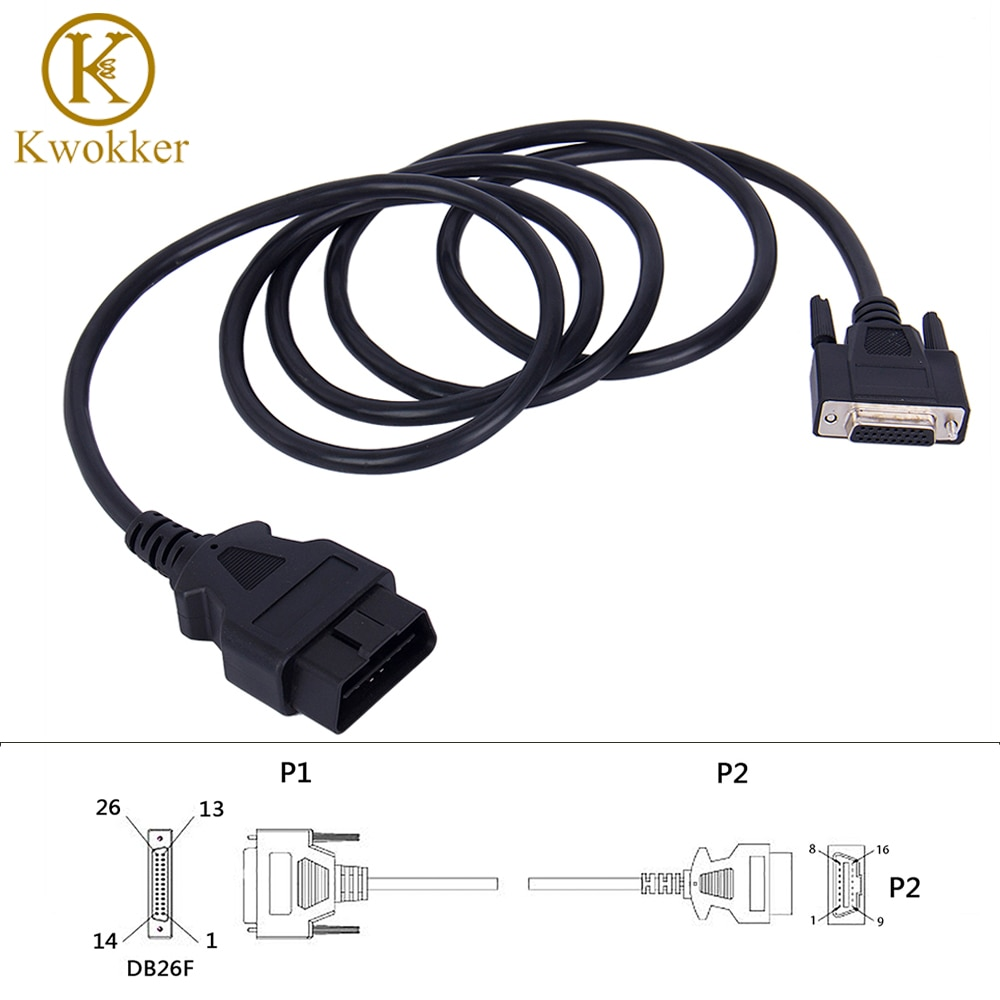 2021 New Universal OBD2 16Pin Male to 26Pin Female 180cm OBDII Adapter Car Connector Extension Cable Diagnostic Tool