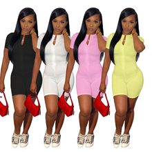 Fitness Summer Activewear Playsuit Solid Color Short Sleeve Zipper Up Sporty Jumpsuit Women 2021 Out