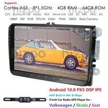 Android 10.0 9 pouces 2 Din 4G RAM 32G GPS autoradio stéréo pour V W passat golf 4 5 tiguan polo skoda fabia CC DAB WIFI BT CAM
