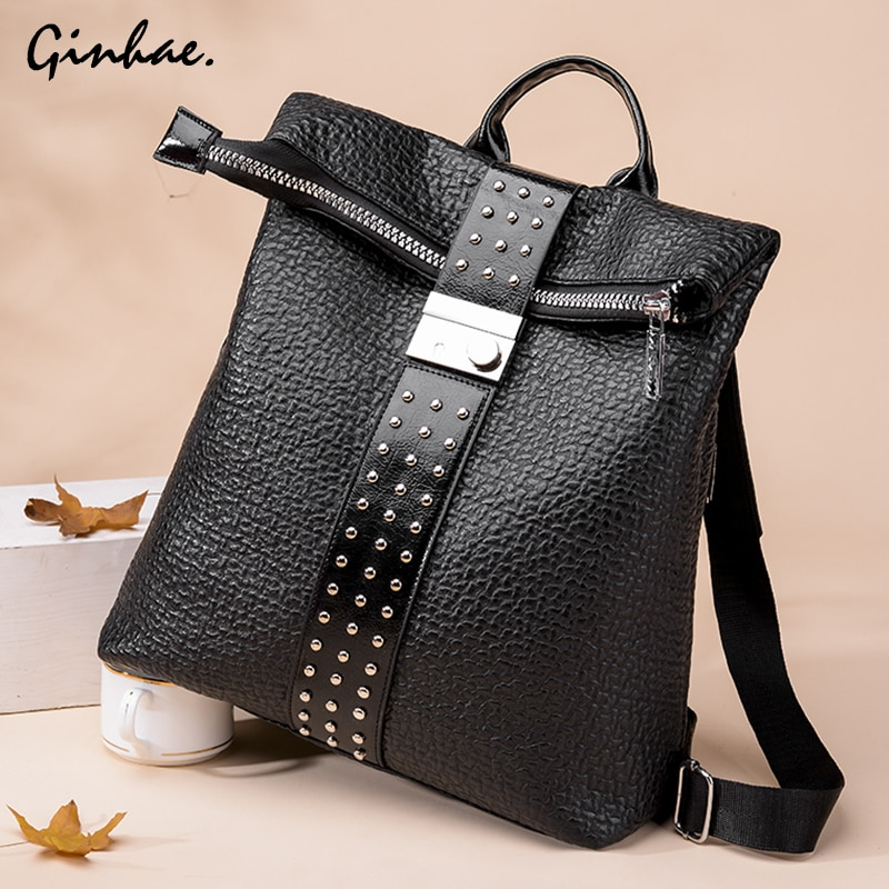 Fashion Patchwork Revit Backpack Leather Women Vintage Multifunction School Bags Lady Large College Bag Anti Theft Shoulder Bag
