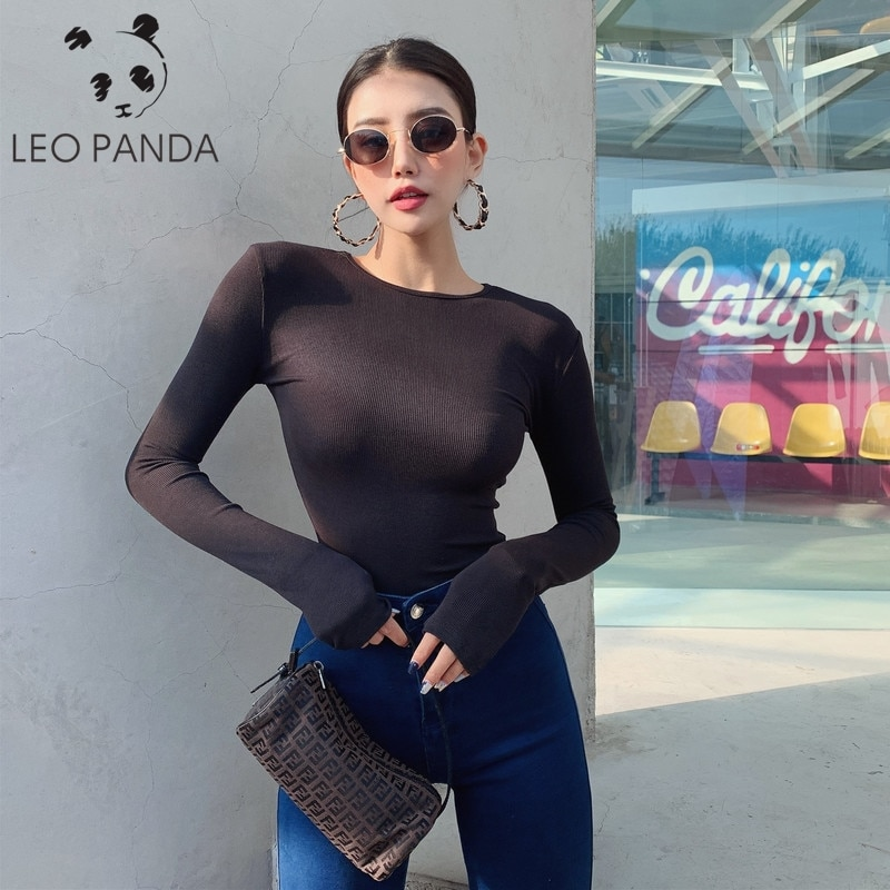 NEW Women Sexy Bodysuit Lace Flare Long Sleeve Attractive Jumpsuit Romper Female Transparent Leotard Tops