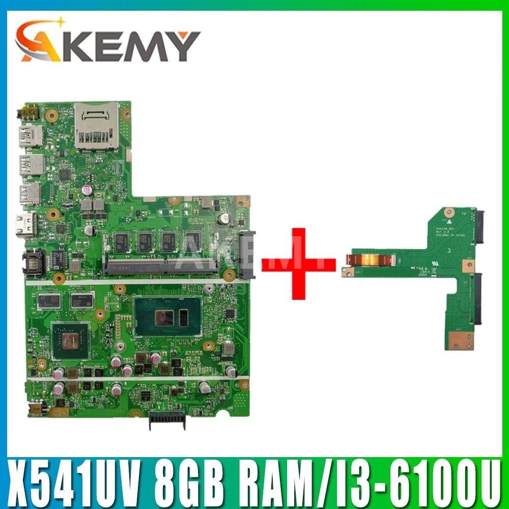 Akemy nuevo para Asus X541UVK X541UJ X541UV X541U F541U R541U placa base para ordenador portátil con 8GB RAM/I3-6100U GT940M