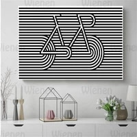 nordic striped background poster black and white pictures line bicycle canvas painting or living room scandinavian home decor