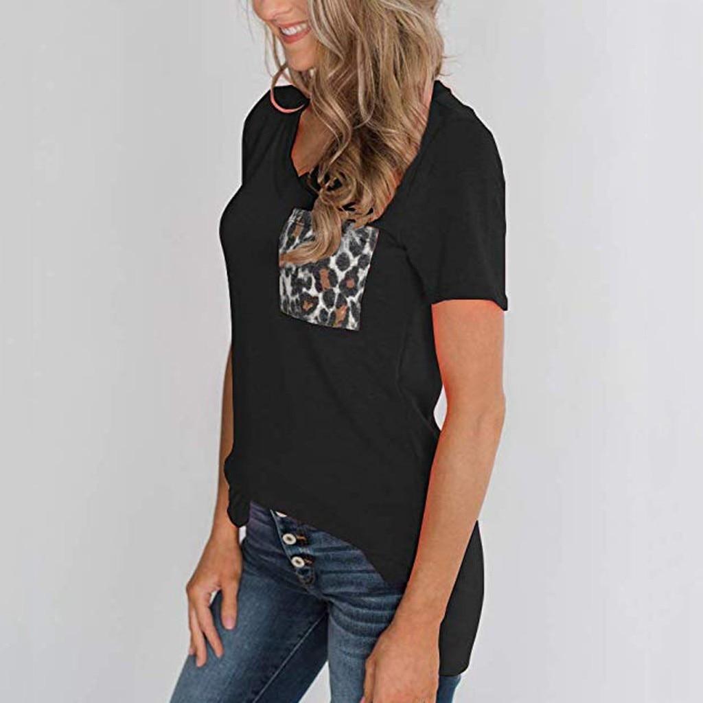 Mujer verano leopardo bolsillo casual suelta manga corta cuello pico diario Camiseta básica Oficina Tops