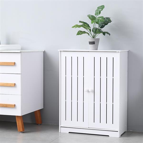 Double Door Three-Layer Wood Cupboard Shelf Storage Cabinet Bathroom Shelve Toilet Furniture PVC Storage Rack