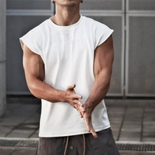 Camiseta sin mangas para hombre, chaleco de hombro ancho, Top corto informal suelto para hombre, ropa de ejercicio de entrenamiento, Camisa sin mangas