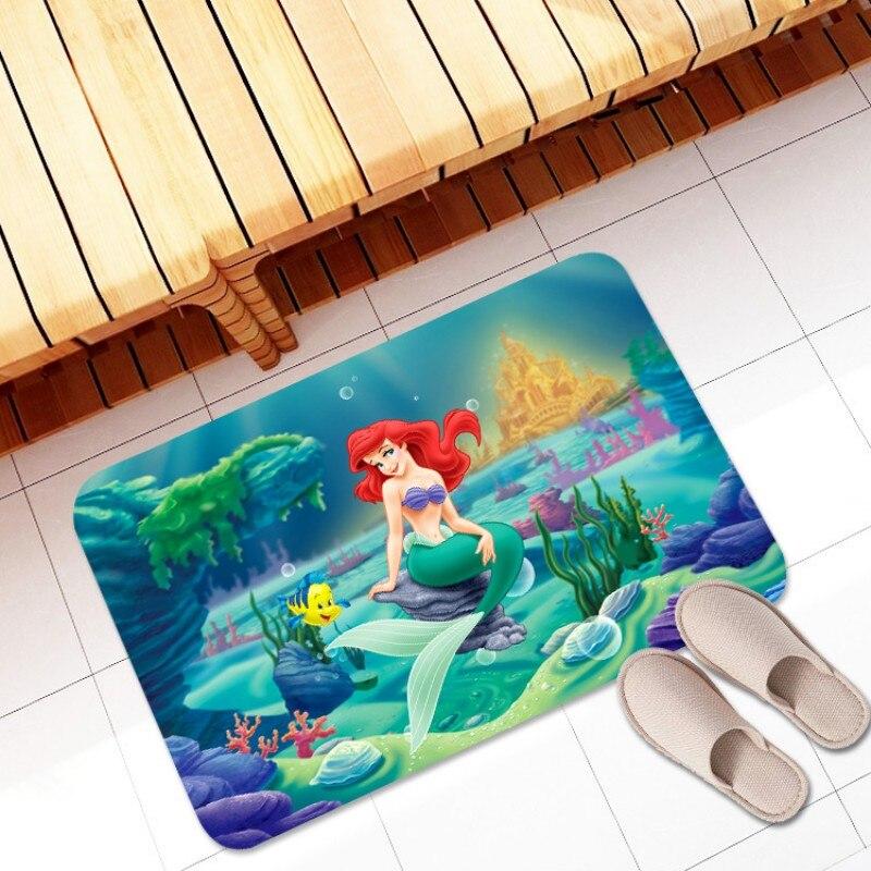 Alfombra de baño de franela alfombra de baño de La Sirenita alfombra de baño alfombras de cocina alfombra absorbente de piso de dormitorio para exteriores
