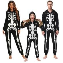 Family Halloween Pajamas Parent-Child Clothes Cartoon Skeleton Printed Underwear For Men Women Cotto