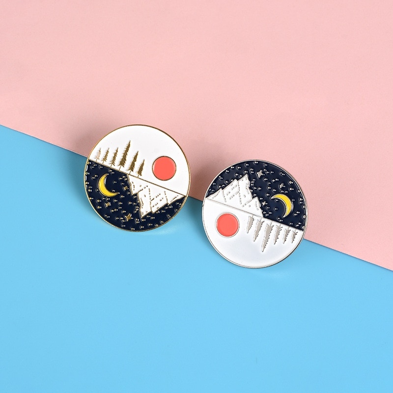 2019 new gold and popular round landscape sun moon snow mountain metal enamel pin personality lapel backpack commemorative badge  - buy with discount