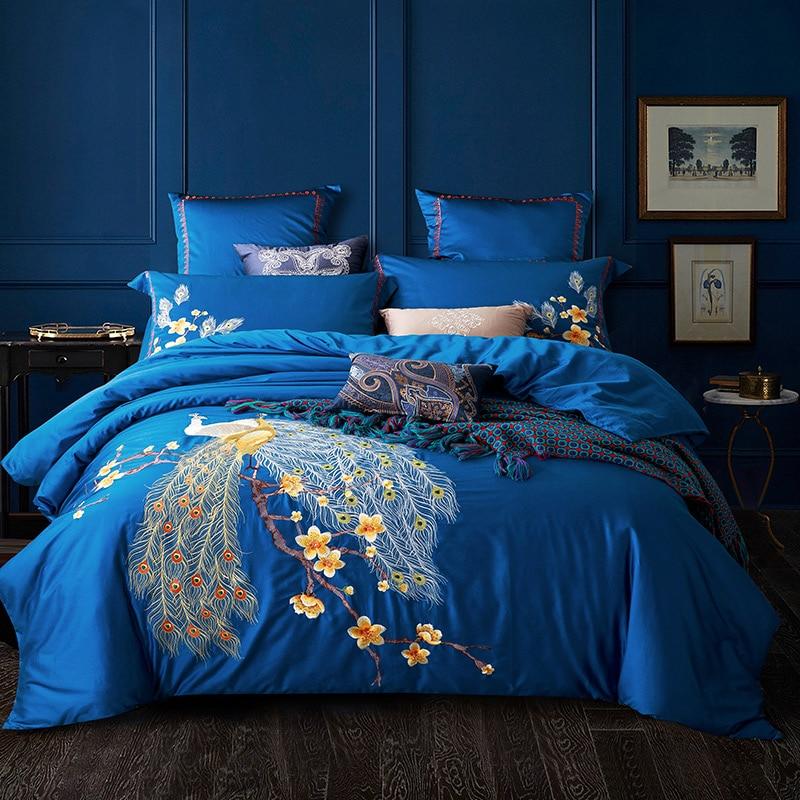 الفاخرة الزهور الطيور التطريز الأزرق طقم سرير قطني حاف الغطاء غطاء سرير الكتان سادات الملكة الملك الحجم المنسوجات المنزلية
