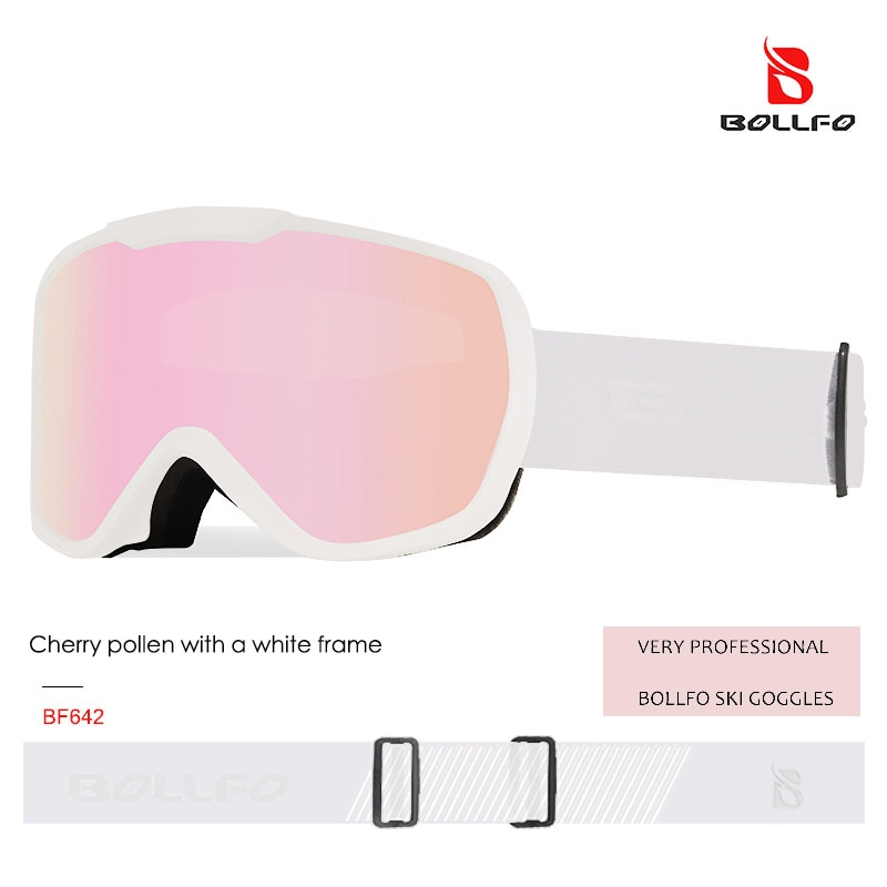 Bollfo جديد طبقة مزدوجة مكافحة الضباب نظارات كبيرة اسطوانة تزلج نظارات للرجال والنساء معدات التزلج التزلج نظارات