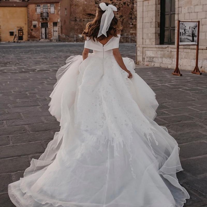 Luxury Wedding Dress Lace With Silk Taffeta Princess Ball Gown High-neck Sleeveless Bride Dresses Train Vestido De Novia Button