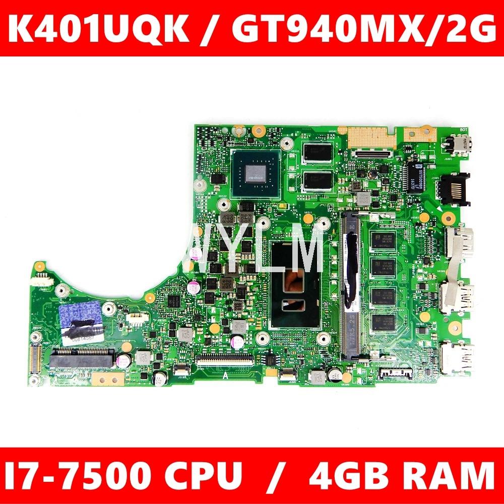 K401UQK MAIN_BD._ 4G/I7-7500U/كما 940MX/V2G اللوحة ل ASUS K401U K401U A401U K401UQ K401UQK اللوحة المحمول 100% اختبار