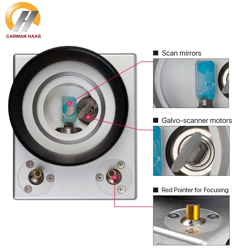 1064nm Fiber Laser High Speed Scanning Galvo Head Input Aperture10mm With Red Beam Galvanometer Scanner with Power Supply Set