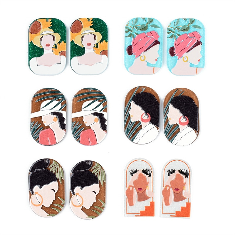 50PCS/lot Bohemian Beauty Avatar Relief Oil Painting Accessories Hand Made Earrings Connectors DIY Pendant Components Charms