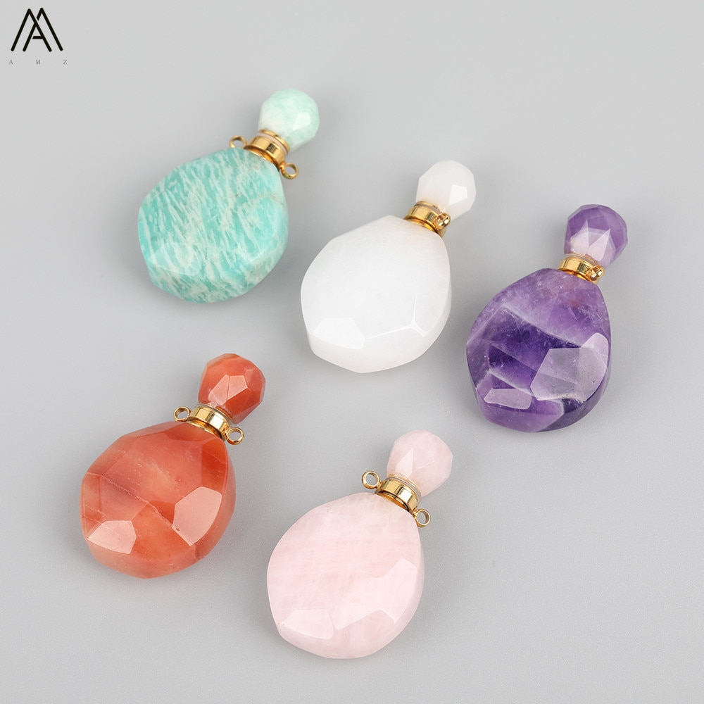 Natural Pink amatists cuarzo botella dorada de Perfume colgante collar mujeres ágata gemas aceite esencial botella curación joyería