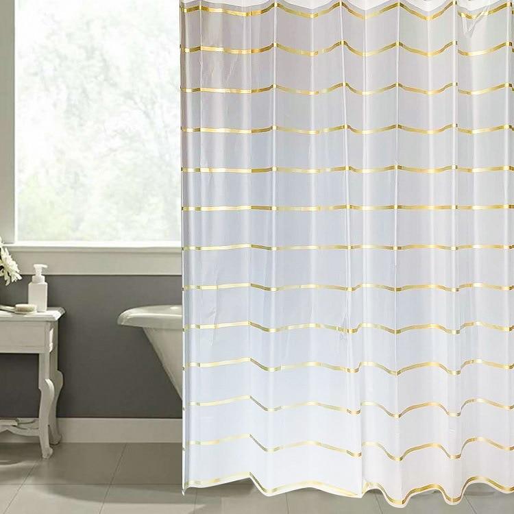 Modern Style Shower Curtains Bathroom Curtain EVA Transparent Golden Stripe Environmental Protection Waterproof Shower Curtain 3d sheer shower curtain waterproof shower curtain transparent bathing bathroom curtains for home decoration bathroom accessories