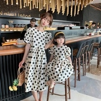 2021 summer family matching dresses mom and daughter dress korean style fashion dot short sleeve high waist casual one piece