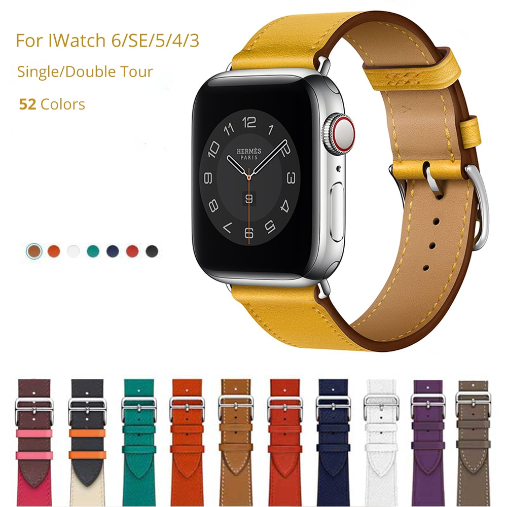 original black white lines leather strap for apple watch sport band 38mm 42mm for iwatch strap series 2 3 for iphone case set Cow Leather Band for Apple Watch 6 SE 44mm 40mm Original Genuine Leather Strap Bracelet for Iwatch Series 6 5 4 3 2 1 42mm 38mm