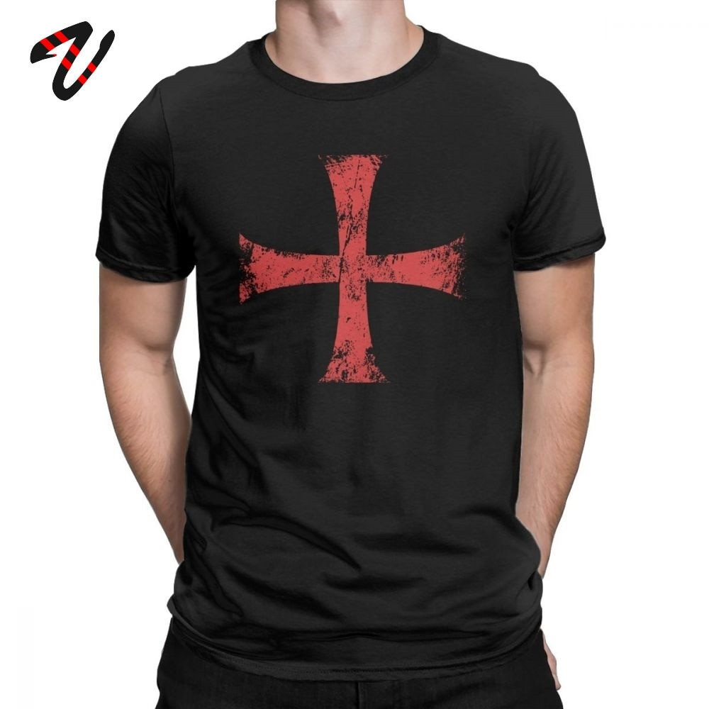 Camisa masculina afligida crusader cavaleiros templar cruz t camisas premium algodão camiseta crewneck manga curta roupas plus size