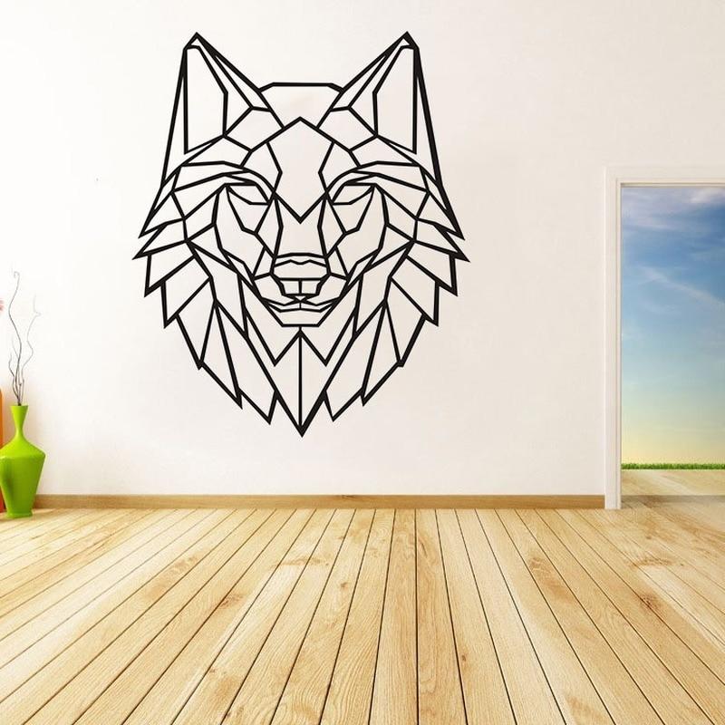 Pegatina de pared geométrica Origami cabeza de león pegatinas dormitorio Sala decoración pegatina decoración de pared decoración del hogar Accesorios