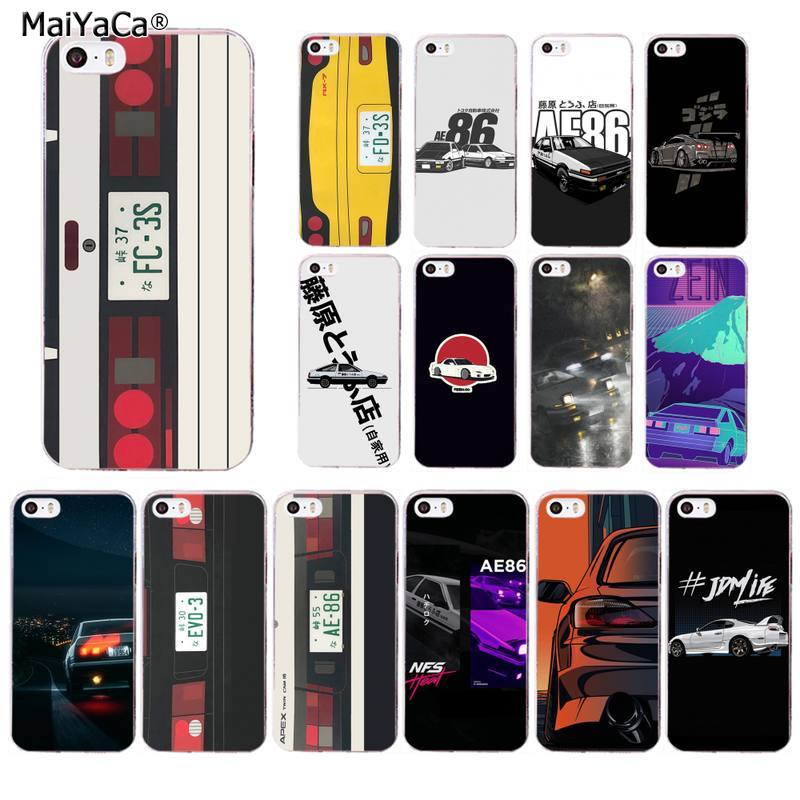 MaiYaCa Japón Anime inicial D coche luz trasera suave silicona TPU cubierta del teléfono para iPhone 11 pro XS MAX 8 7 6 6S Plus X 5S SE 2020 XR