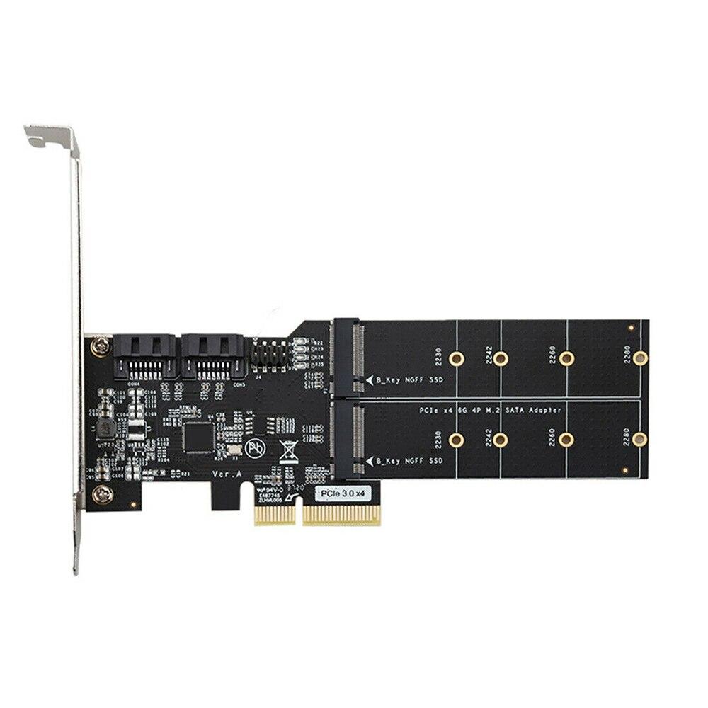 بطاقة توسعة PCIE X4 الجديدة PCIE 3.0 إلى بطاقة محول SATA 3 + M.2 ASM116 رقاقة 6Gbps محول لـ 2230 2242 2260 2280 SSD