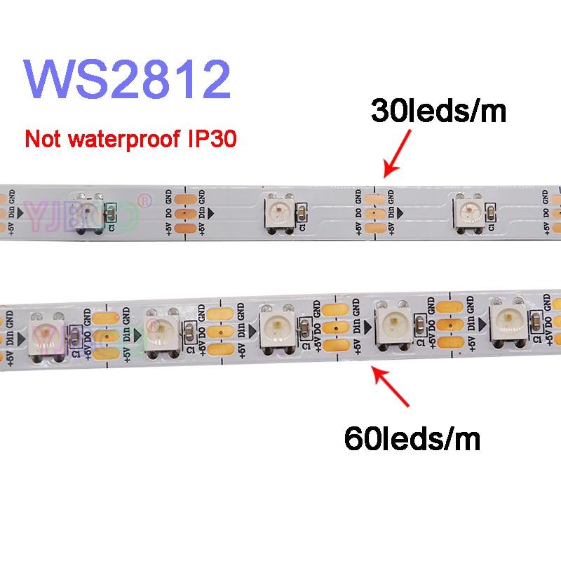 1 м/2 м/3 м/4 м/5 м WS2812B умный пиксельный светодиодный светильник; 30/60/144 пикселей/светодиодов/м; WS2812 IC;IP30/IP65/IP67, светодиодная лента DC5V
