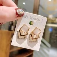 fashion jewelry geometric acrylic pearl irregular hollow circle square drop earrings metal dangle earrings women jewelry