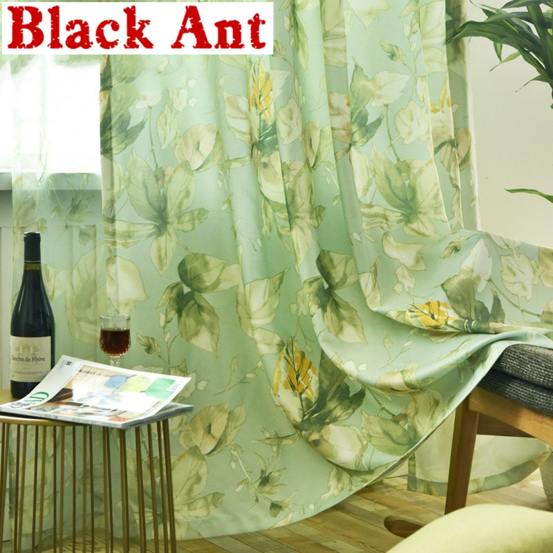 Rustic Curtain For Living Room Kitchen Voile Curtain For Window Bedroom Drapes Green Leaves Sheer Fabrics Treatment X-WP338 #30