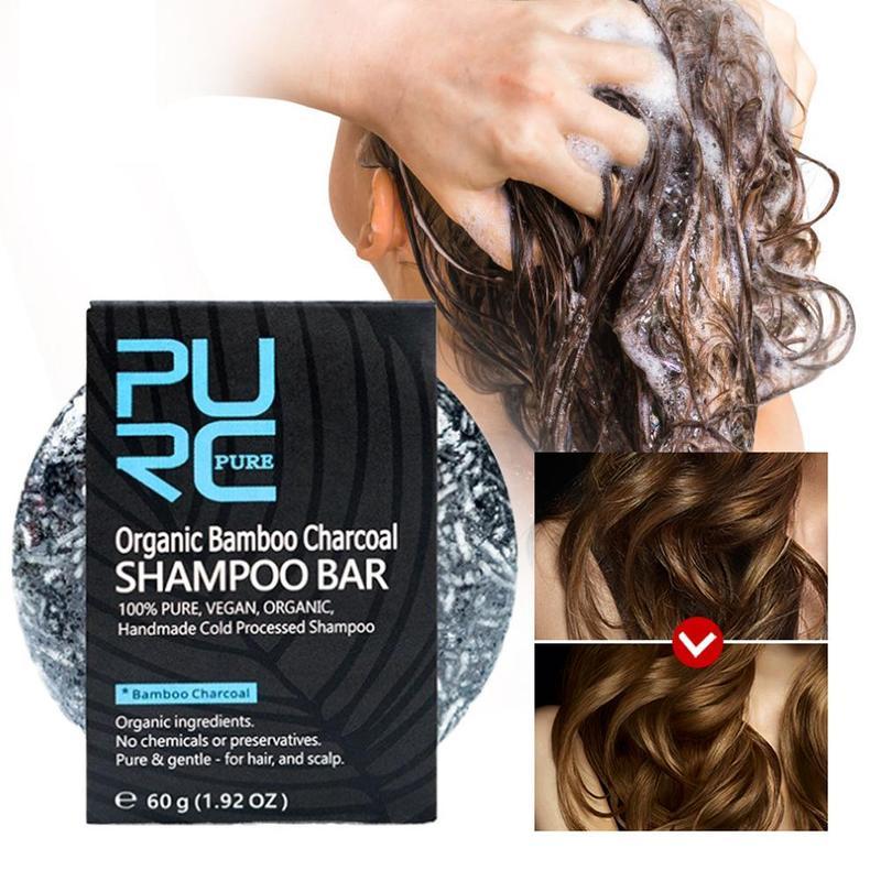Barra de champú de carbón de bambú orgánico de 60g, jabón de desintoxicación de limpieza, tratamiento de tinte de Color de cabello negro, champú para el cabello, jabón de tratamiento de cabello brillante