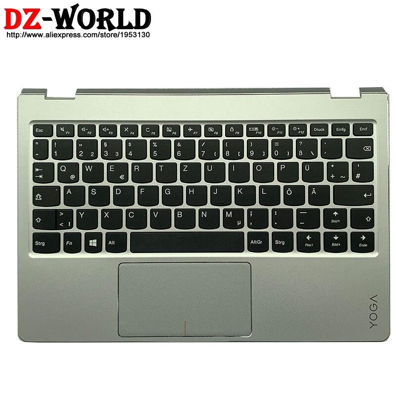 Nova capa superior de prata com teclado alemão touchpad para lenovo ideapad yoga 710-11 isk ikb portátil c capa 5cb0l46114