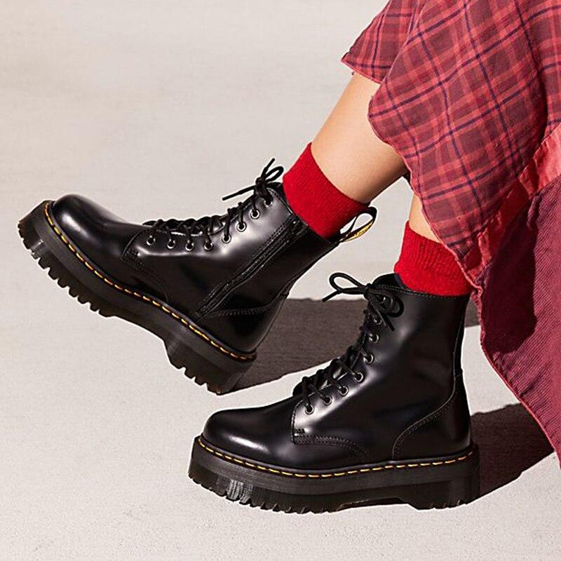 Black Patent Leather Ankle Boots For Women Lace Up Platform Boots Women Winter Warm Plush Women Moto