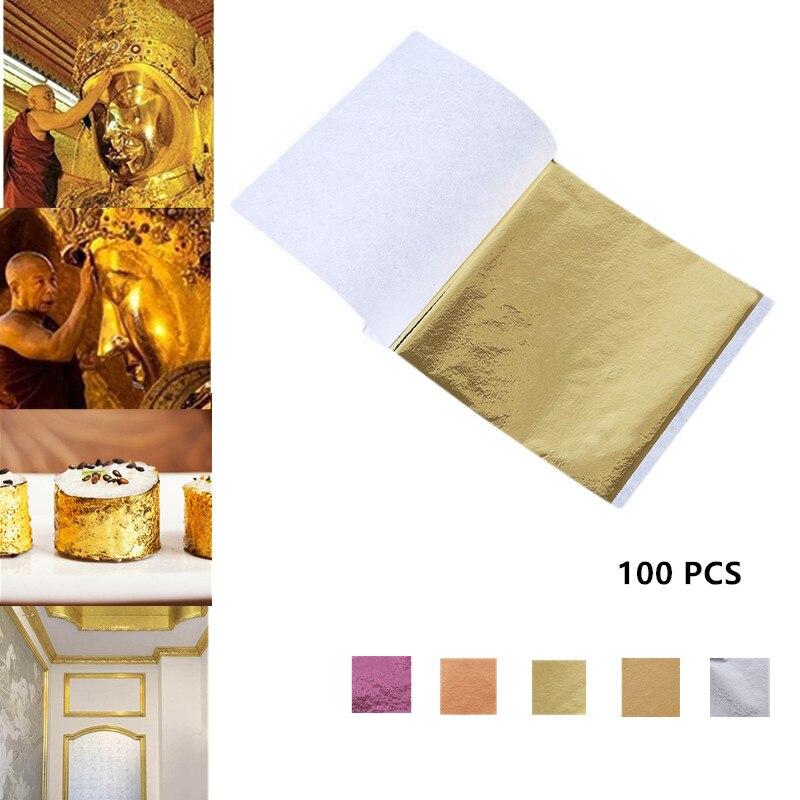Съедобные золотые листы 24 К, листы фольги для украшения торта, маски для лица, художественные промыслы, бумажные домашние фольгированные Зо...