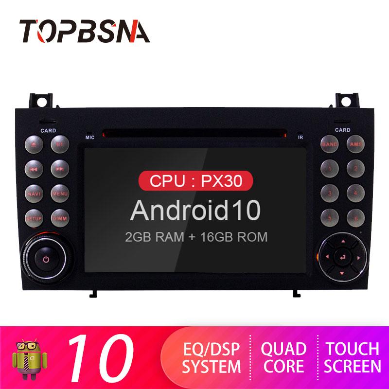 TOPBSNA 2 Din DVD Player Do Carro Android 9.0 Para Mercedes Benz Classe SLK R171 W171 2008-2011 SLK200 SLK230 SLK280 GPS Navi USB WIFI