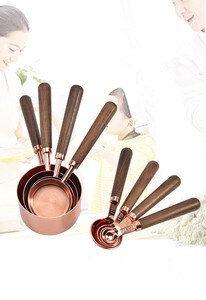 1set Rose gold Stainless Steel Walnut Hand Measuring Cups Spoons set Engraved Measurements,Pouring Spouts Baking Tool OK 1110