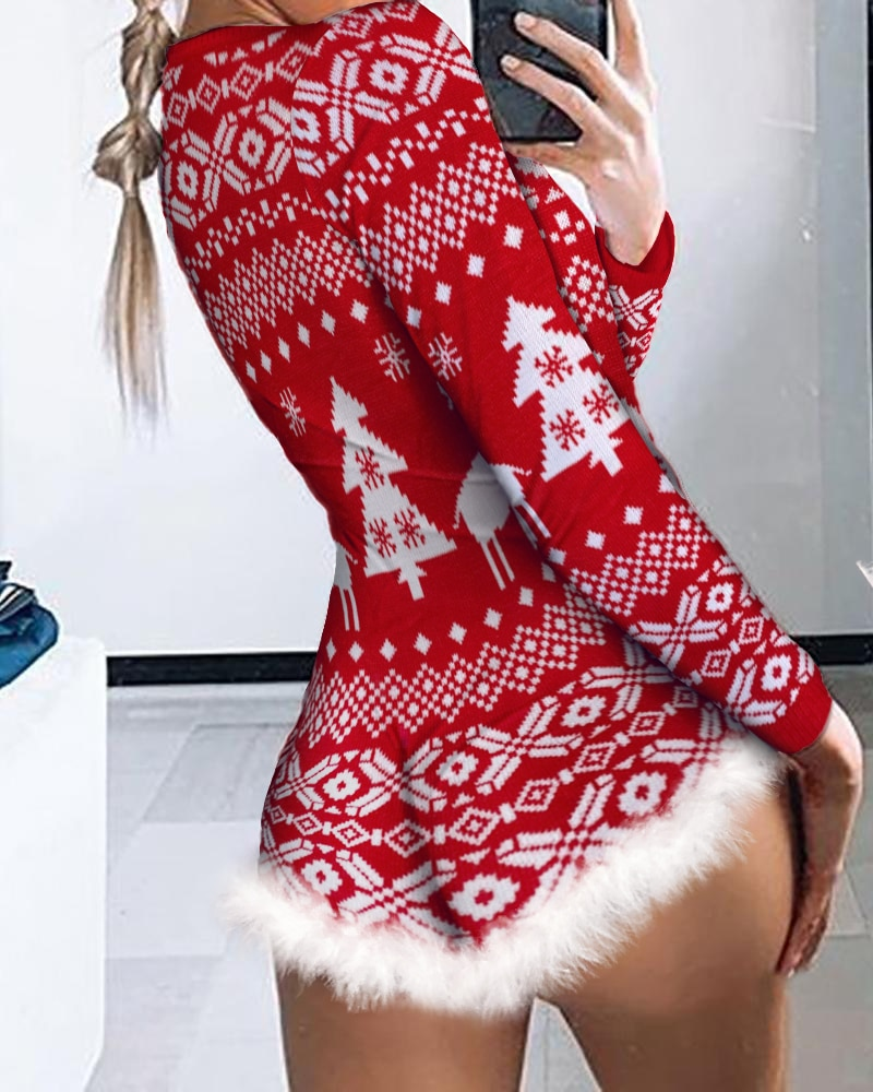 2020 Winter Christmas Women Xmas Tree Print Sexy Romper Long Sleeve V-Neck Jumpsuit Christmas Fluffy Trim Button Front Nightwear