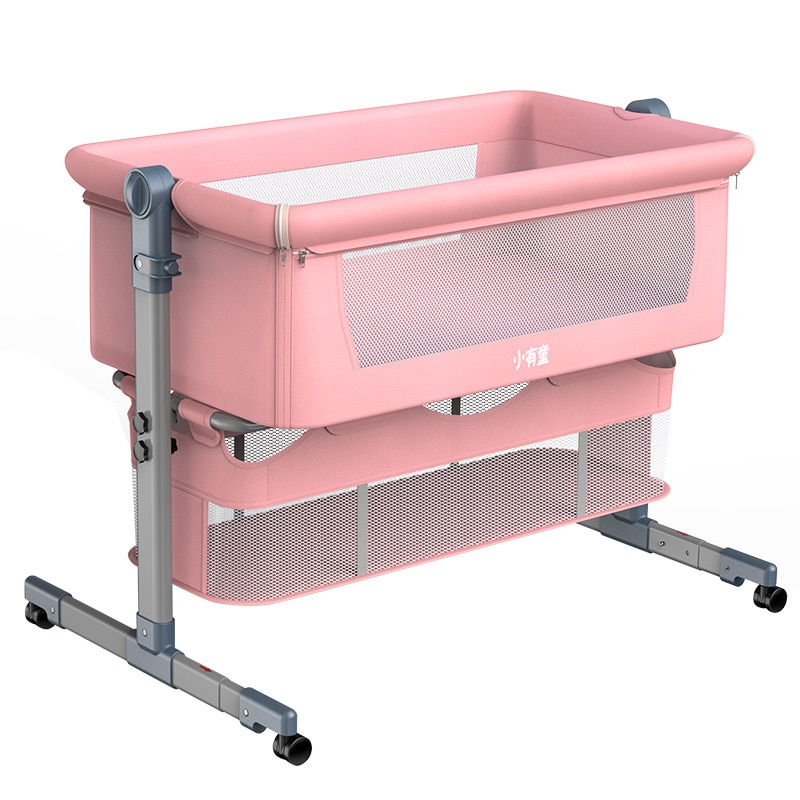 Removable Washable Baby Crib Foldable Cradle for Newborn Height Adjustable Baby Cradle Bed Nursery Baby Cot Baby Lounger 0-18M