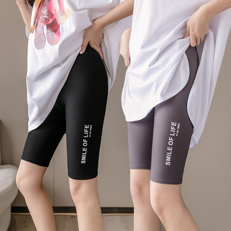 5-point ice silk Plaid Leggings can be worn by girls