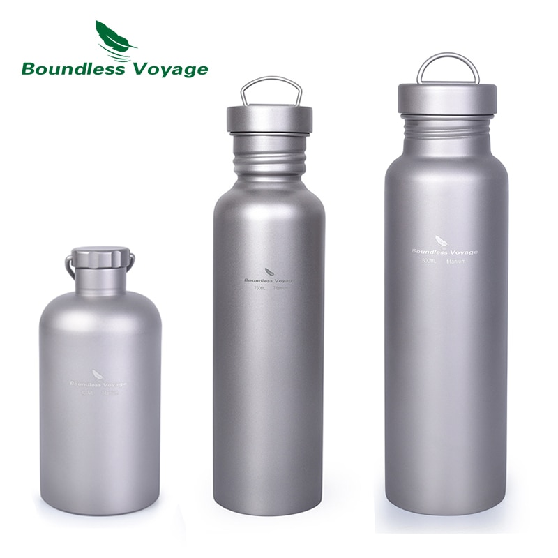 Botella deportiva de titanio Boundless Voyage con tapa de titanio, botella de agua de boca ancha para Camping al aire libre 500ml75 0ml/800ml