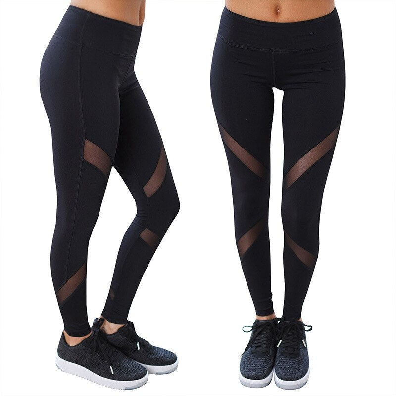 2020new Style Pants Stitching European and American Fitness Womens Leggings Solid Ankle-length Casual High Waist Mesh 10%
