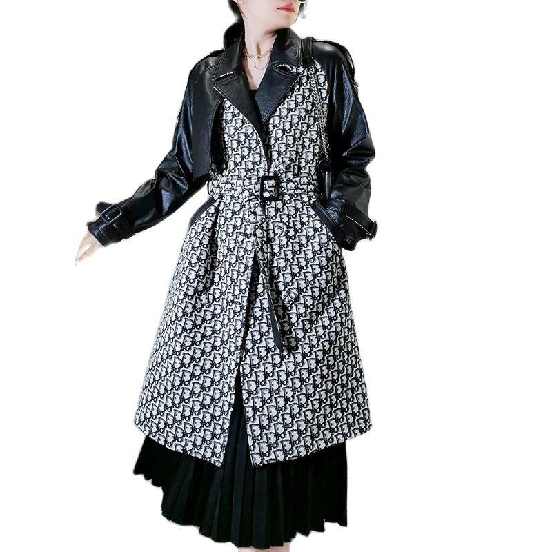 2020 new sheepskin splicing women genuine leather trench coat sheepskin windcoat womens genuine leather coats learher jackets